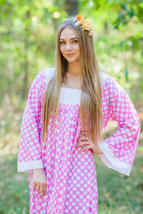 Pink Fire Maiden Style Caftan in Polka Dots Pattern|Pink Fire Maiden Style Caftan in Polka Dots Pattern|Polka Dots