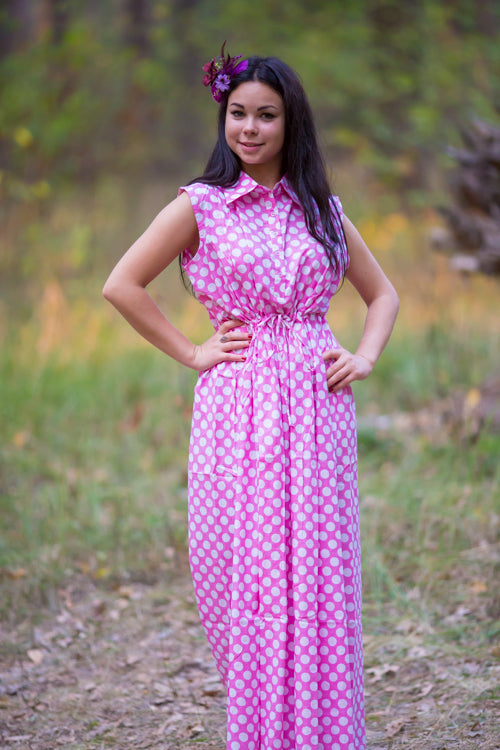 Pink Cool Summer Style Caftan in Polka Dots Pattern|Pink Cool Summer Style Caftan in Polka Dots Pattern|Polka Dots