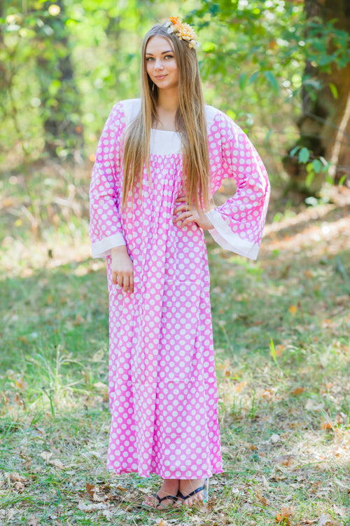 Pink Fire Maiden Style Caftan in Polka Dots Pattern