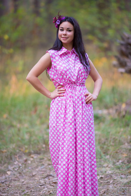 Pink Cool Summer Style Caftan in Polka Dots Pattern