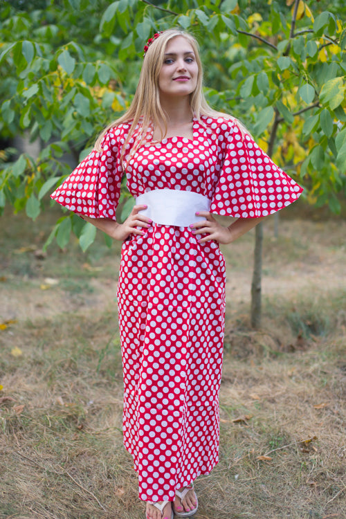 Red Beauty, Belt and Beyond Style Caftan in Polka Dots