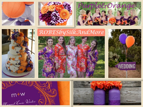 Purple and Orange Wedding Colors Bridesmaids Robes|Purple and Orange Wedding Colors Bridesmaids Robes|Purple and Orange Wedding Colors Bridesmaids Robes