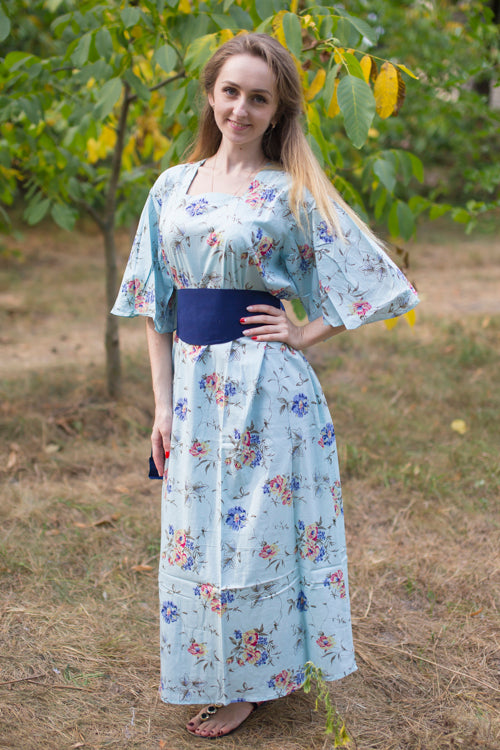 Light Blue Beauty, Belt and Beyond Style Caftan in Romantic Florals|Light Blue Beauty, Belt and Beyond Style Caftan in Romantic Florals|Romantic Florals