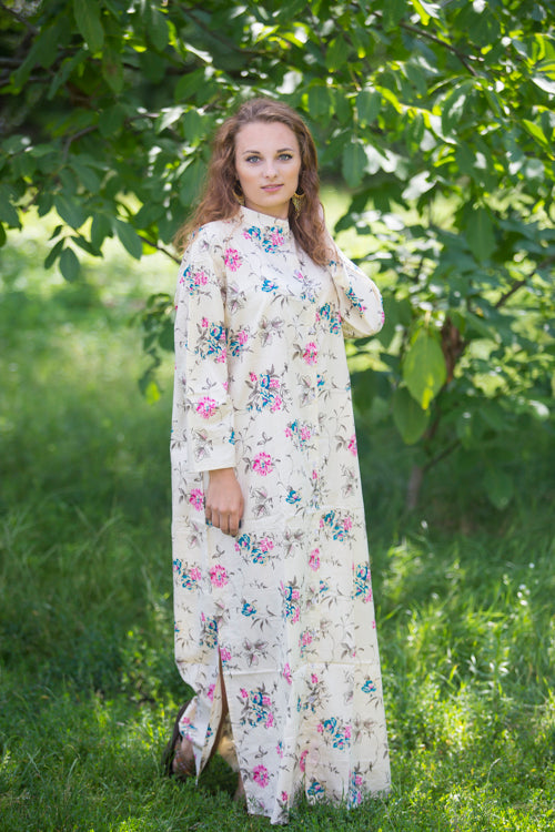 Light Yellow Charming Collars Style Caftan in Romantic Florals Pattern|Light Yellow Charming Collars Style Caftan in Romantic Florals Pattern|Romantic Florals