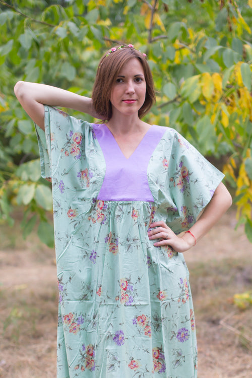 Mint Flowing River Style Caftan in Romantic Florals Pattern|Mint Flowing River Style Caftan in Romantic Florals Pattern|Romantic Florals