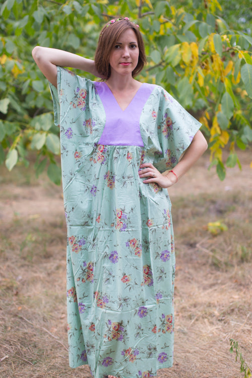 Mint Flowing River Style Caftan in Romantic Florals Pattern