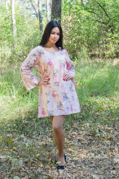 Pink Bella Tunic Style Caftan in Romantic Florals Pattern