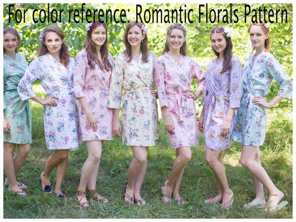 Mismatched Romantic Floral Patterned Bridesmaids Robes in Soft Tones