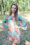 Light Blue Bella Tunic Style Caftan in Rosy Red Posy Pattern