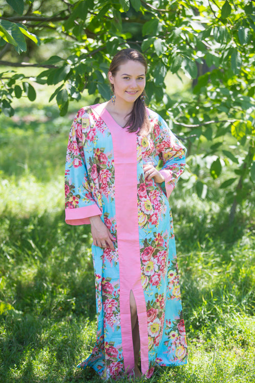 Light Blue The Glow-within Style Caftan in Rosy Red Posy Pattern