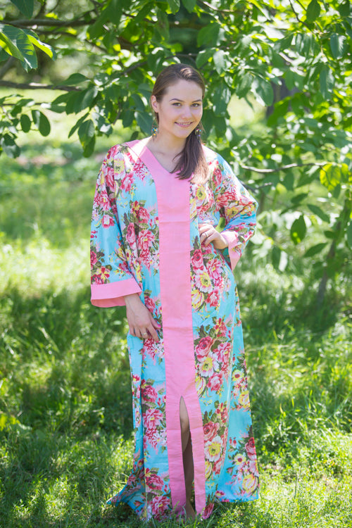 Light Blue The Glow-within Style Caftan in Rosy Red Posy Pattern|Light Blue The Glow-within Style Caftan in Rosy Red Posy Pattern|Rosy Red Posy