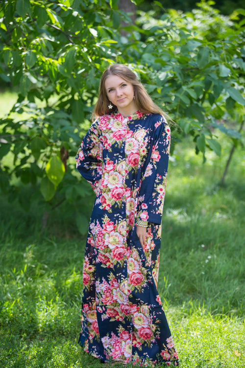 Navy Blue Charming Collars Style Caftan in Rosy Red Posy Pattern