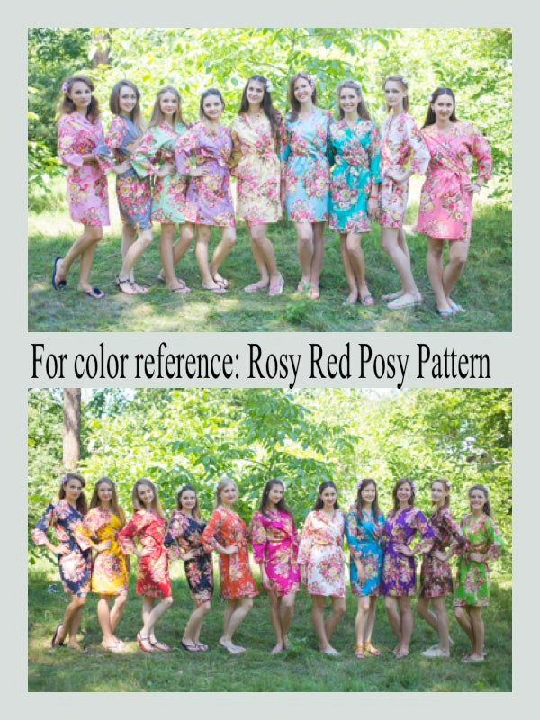 Light Blue Cool Summer Style Caftan in Rosy Red Posy Pattern