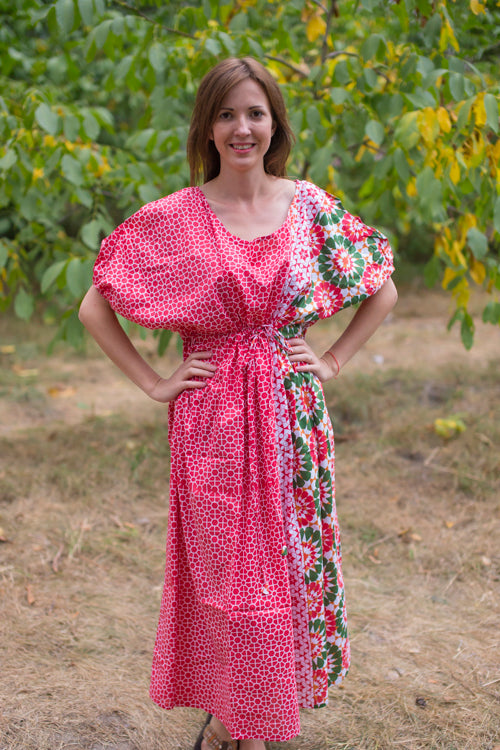 Red Cut Out Cute Style Caftan in Round and Round Pattern