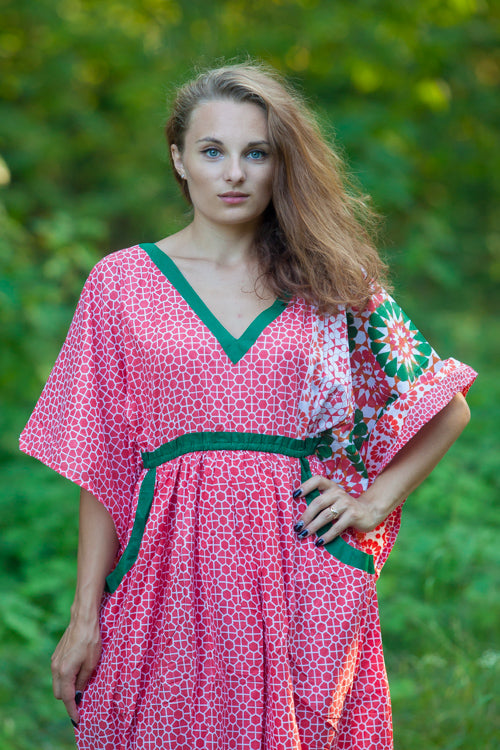 Red Breezy Bohemian Style Caftan in Round and Round Pattern|Red Breezy Bohemian Style Caftan in Round and Round Pattern