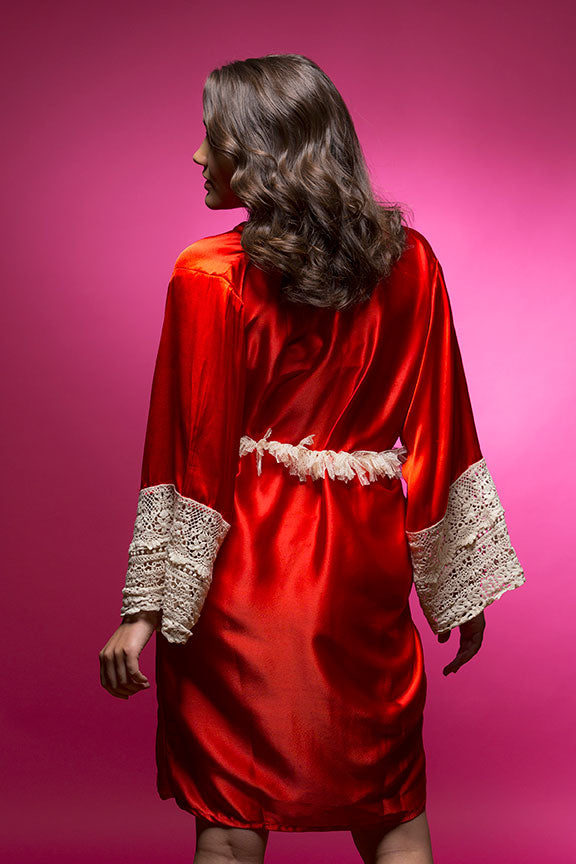 Ruby Red Satin Robe with Lace Accented Cuff
