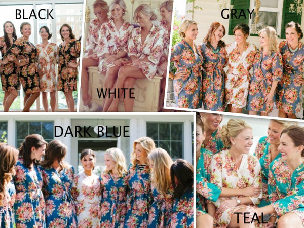 Mismatched Floral Posy Patterned Bridesmaids Robes in Jewel Tones