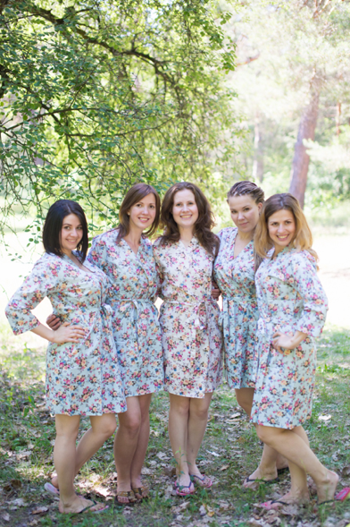 Light Blue Vintage Chic Floral Pattern Bridesmaids Robes