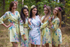 Light Yellow Blooming Flowers Pattern Bridesmaids Robes|Blooming Flowers Pattern Bridesmaids Robes|Light Yellow Blooming Flowers Pattern Bridesmaids Robes