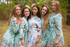 Blooming Flowers Pattern Bridesmaids Robes|Turquoise Blooming Flowers Pattern Bridesmaids Robes|Blooming Flowers Pattern Bridesmaids Robes