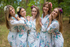 White Blooming Flowers Pattern Bridesmaids Robes|White Blooming Flowers Pattern Bridesmaids Robes|Blooming Flowers Pattern Bridesmaids Robes
