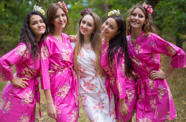 Faded Flowers Pattern Bridesmaids Robes|Hot Pink Faded Flowers Pattern Bridesmaids Robes|Faded Flowers|Hot Pink Faded Flowers Pattern Bridesmaids Robes|2