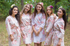 Faded Flowers Pattern Bridesmaids Robes|Champagne Faded Flowers Pattern Bridesmaids Robes|Faded Flowers|1|2