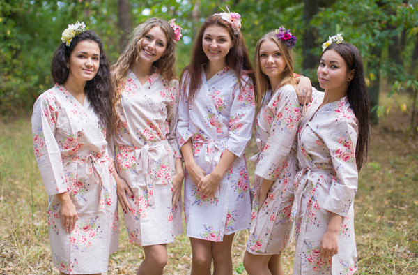 Champagne Faded Flowers Pattern Bridesmaids Robes