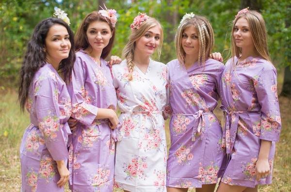 Faded Flowers Pattern Bridesmaids Robes|Dusty Purple Faded Flowers Pattern Bridesmaids Robes|Faded Flowers|1|2
