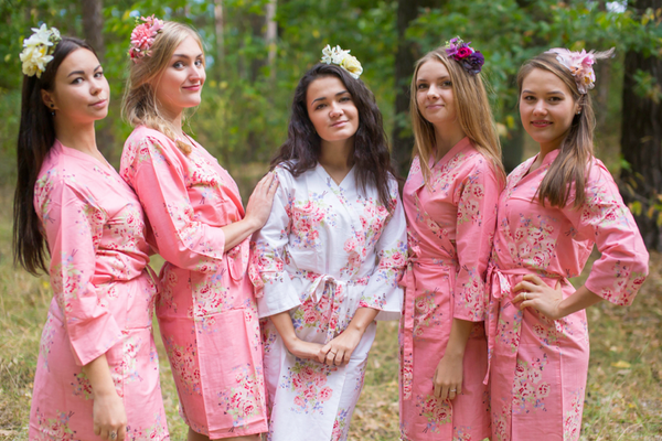 Faded Flowers Pattern Bridesmaids Robes|Rose Pink Faded Flowers Pattern Bridesmaids Robes|Faded Flowers|Rose Pink Faded Flowers Pattern Bridesmaids Robes|Rose Pink Faded Flowers Pattern Bridesmaids Robes