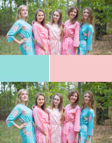 Aqua & Rose Pink Colors, Bridesmaids Robes|Aqua & Rose Pink Colors, Bridesmaids Robes|Aqua & Rose Pink Colors, Bridesmaids Robes