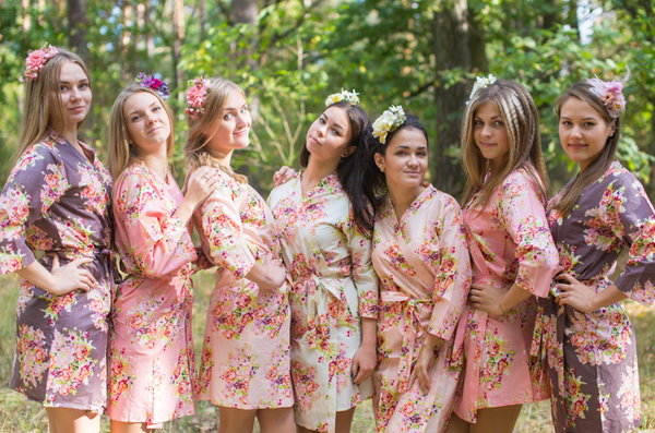 Blush, Rose Gold and Charcoal Wedding Colors Bridesmaids Robes