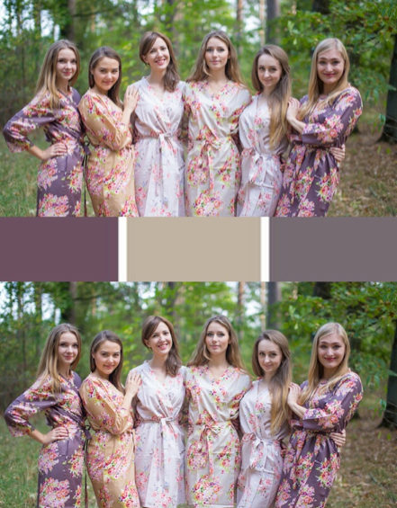 Taupe Brown and Cream Wedding Colors Bridesmaids Robes