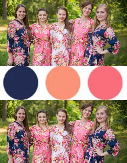 Coral and Navy Blue Wedding Colors Bridesmaids Robes|Coral and Navy Blue Wedding Colors Bridesmaids Robes|Coral and Navy Blue Wedding Colors Bridesmaids Robes