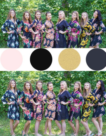 Black and Gold Wedding Colors Bridesmaids Robes|Black and Gold Wedding Colors Bridesmaids Robes|Black and Gold Wedding Colors Bridesmaids Robes