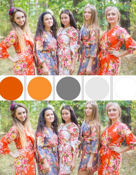 Orange and Gray Wedding Colors Bridesmaids Robes, Kimono Robes|Orange and Gray Wedding Colors Bridesmaids Robes, Kimono Robes|Orange and Gray Wedding Colors Bridesmaids Robes, Kimono Robes|1|2