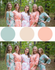 Grayed Jade & Peach Wedding Colors Bridesmaids Robes|Grayed Jade & Peach Wedding Colors Bridesmaids Robes|Grayed Jade & Peach Wedding Colors Bridesmaids Robes