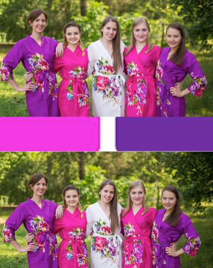 Purple and Fuchsia Wedding Colors Bridesmaids Robes|Purple and Fuchsia Wedding Colors Bridesmaids Robes|Purple and Fuchsia Wedding Colors Bridesmaids Robes