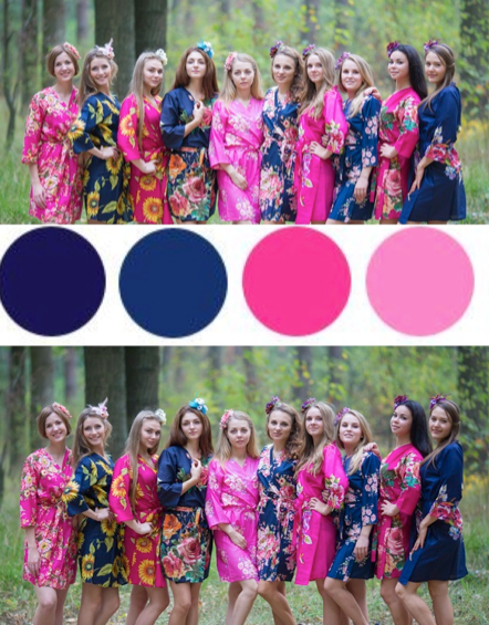 Navy Blue and Fuchsia Hot Pink Wedding Colors, Bridesmaids Robes|Navy Blue and Fuchsia Hot Pink Wedding Colors, Bridesmaids Robes|Navy Blue and Fuchsia Hot Pink Wedding Colors, Bridesmaids Robes
