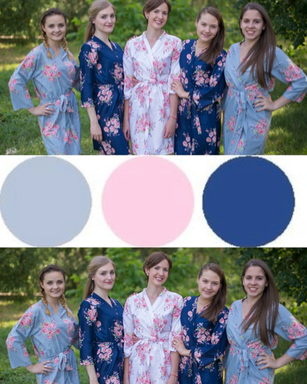 Navy Blue and Gray Wedding Colors Bridesmaids Robes|Navy Blue and Gray Wedding Colors Bridesmaids Robes|Navy Blue and Gray Wedding Colors Bridesmaids Robes