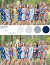 Navy and Gray Wedding Colors Bridesmaids Robes