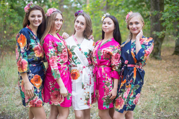 Navy Blue and Magenta Wedding Colors, Bridesmaids Robes