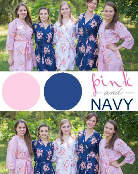 Pink and Navy Blue Wedding Colors Bridesmaids Robes|Pink and Navy Blue Wedding Colors Bridesmaids Robes|Pink and Navy Blue Wedding Colors Bridesmaids Robes