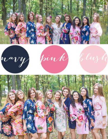 Navy, Pink and Blush Wedding Colors Bridesmaids Robes|Navy, Pink and Blush Wedding Colors Bridesmaids Robes|Navy, Pink and Blush Wedding Colors Bridesmaids Robes|1|2