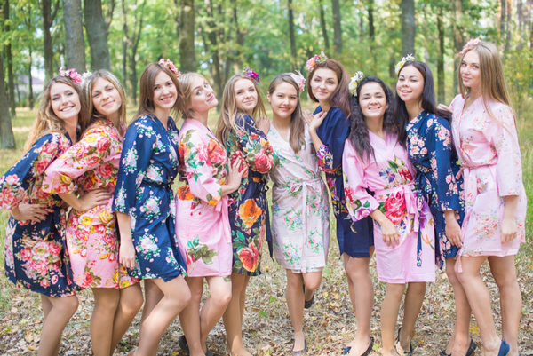 Navy, Pink and Blush Wedding Colors Bridesmaids Robes