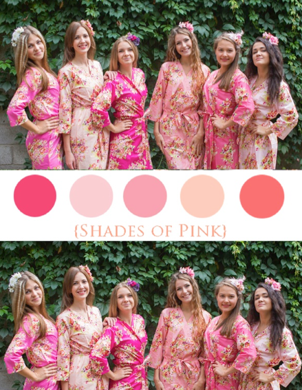 Shades of Pink Wedding Colors Bridesmaids Robes|Shades of Pink Wedding Colors Bridesmaids Robes|Shades of Pink Wedding Colors Bridesmaids Robes