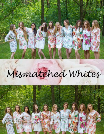 Mismatched White Bridesmaids Robes|Mismatched White Bridesmaids Robes|Mismatched White Bridesmaids Robes
