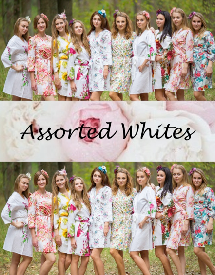 Assorted White Patterns Bridesmaids Robes|Assorted White Patterns Bridesmaids Robes|Assorted White Patterns Bridesmaids Robes