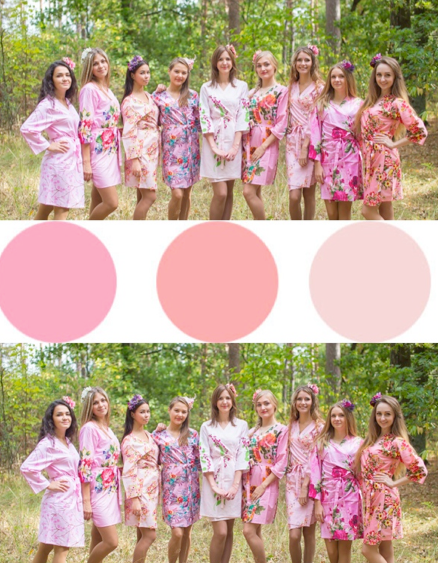 Assorted Pink Bridesmaids Robes|Assorted Pink Bridesmaids Robes|Assorted Pink Bridesmaids Robes