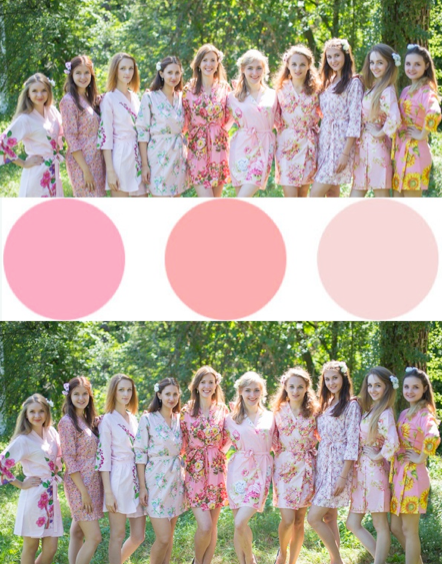 Assorted Light Pinks Bridesmaids Robes|Assorted Light Pinks Bridesmaids Robes|Assorted Light Pinks Bridesmaids Robes